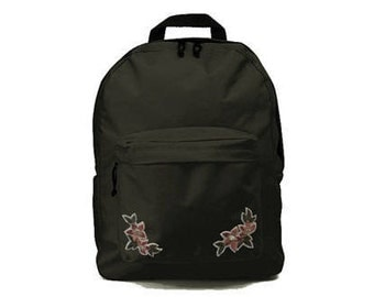 Black backpack with flower patches 33x41x19cm