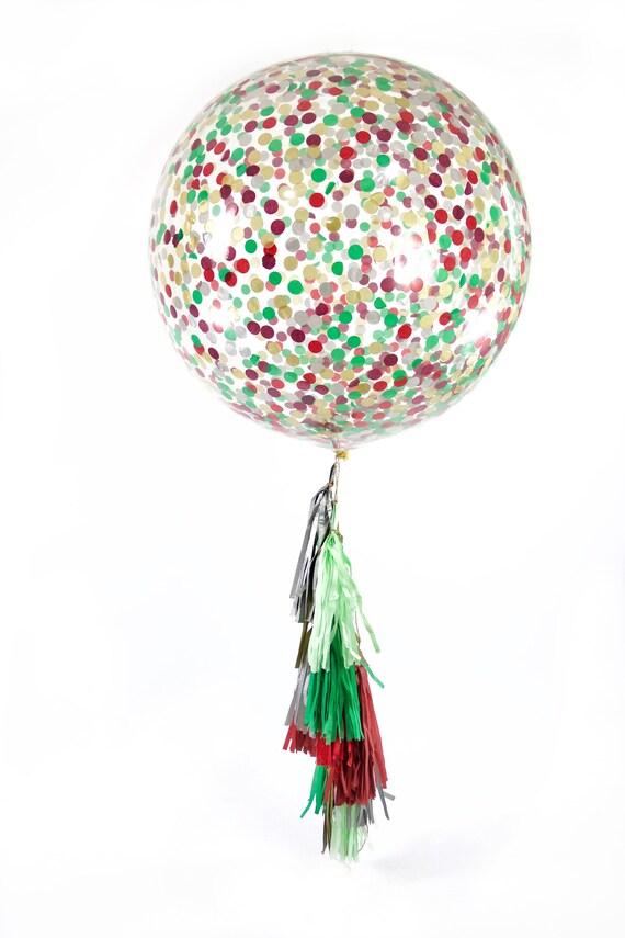 "36"" Enchanted Christmas Balloon, Giant Clear Balloon, Confetti Balloon, Tassel Balloon, Christmas Decor, Wedding Seasonal Winter Holiday Red"
