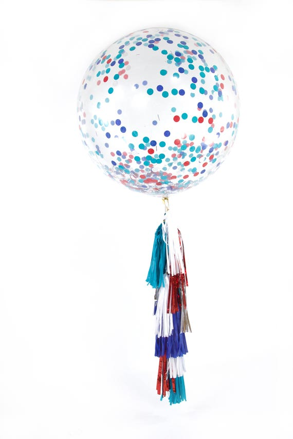 """36"""" Evening Sparklers Balloon, Giant Clear Balloon, Confetti Balloon, Tassel Balloon Baby Shower America Independence Day 4th of July Fourth"""