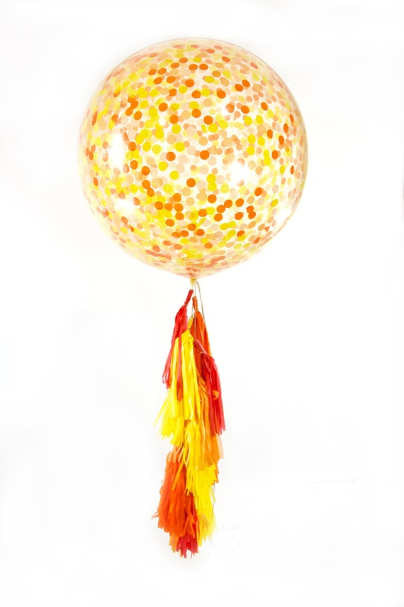 "36"" Caribbean Sunset Balloon, Giant Clear Balloon, Confetti Balloon, Tassel Balloon, First Birthday Tropical Decor Summer Decor, Baby Shower"