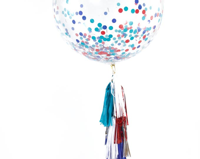 "36"" Evening Sparklers Balloon, Giant Clear Balloon, Confetti Balloon, Tassel Balloon Baby Shower America Independence Day 4th of July Fourth"