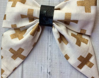 Gold, white, and black sailor bow