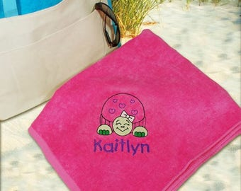 Girls Embroidered Turtle Beach Towel, Embroidered Turtle With Name Towel, Personalized Beach Towel