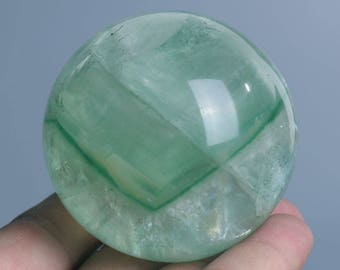 Natural Green Fluorite Quartz Crystal Sphere Ball Healing, Crystals and Minerals , Wiccan Pagan Crystal J402