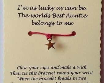 Auntie gift, Aunt Gift, Auntie Wish Bracelet, Aunty Wish Bracelet, Stocking Filler, Aunty Gift, Christmas Gift, Aunt Gift, Auntie Bracelet