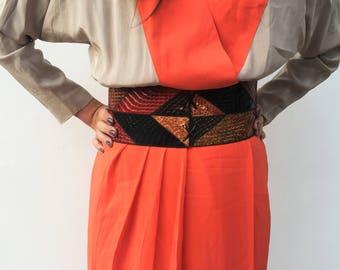 Snakeskin Obi belt / Obi snakeskin belt / High waisted snakeskin belt / Dress snakeskin belt / Phyton Belt high waisted