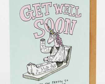 Get well soon card, get well card, thinking of you card, unicorn card, 'Get Well Unicorn', Wally Paper Co, hand drawn card, handmade card