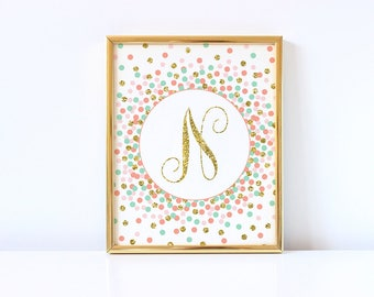 Letter N Sign Initial Sign Printable Coral Blush Pink Mint and Gold Nursery Decor Baby Girl Initial Print Girl Nursery Wall Art