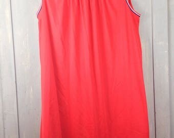 Vintage 70s Babydoll Nightie Red, White & Blue Hollywood Vassarette Fits Up To 2X