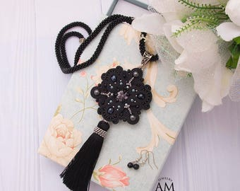 Black Tassel Necklace Boho Chic Necklace Long Beaded Necklace Statement Soutache Jewelry