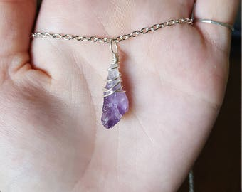 Wire Wrapped Raw Amethyst Point Cluster Necklace