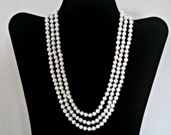Vintage Milk Glass Necklace, 5 mm Milk Glass Beads, 55 Inch Adj Flapper Necklace, Hand Knotted, Mid Century, Circa 1950s, Includes Gift Box