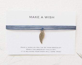 Make a wish bracelet, wish bracelet, wing bracelet, angel bracelet