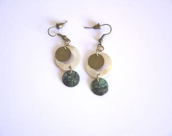Earrings mother of Pearl and Bronze geometric circles