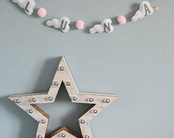 Pom Pom bunting - Pom Pom garland - cloud bunting - cloud garland - baby gift - nursery decor - child's decor - Made in UK - Made to Order