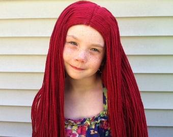 Long red wig, Red yarn wig, Rag doll costume wig, Girls costume, Girls Halloween, Halloween costume, Womens costume, Womens wig, Yarn hair
