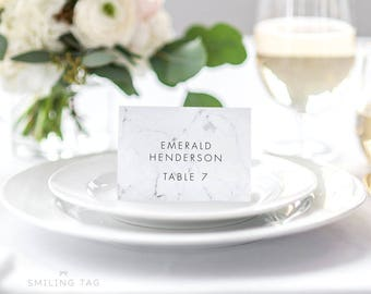 Personalized Printable Wedding Place Cards - Modern Chic Marble Wedding Escort Cards Table Setting- Letter or A4 Size (Item code: P460)