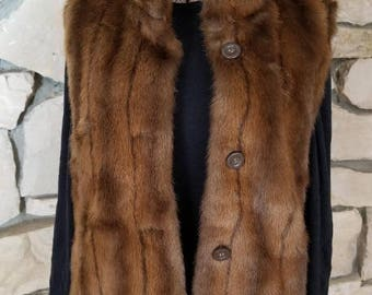 Vest, hip length - reversible;  Faux Fur Mink & Silk Tudor Court Vest with pockets