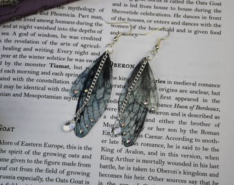 Small Smokey Gothic Grey Fairy Wing/Butterfly/Cicada Earrings