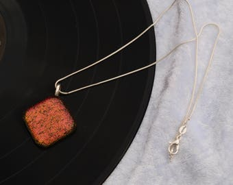 Orange Dichroic fused glass pendant / necklace - Would make a great wedding / birthday / anniversary present / gift
