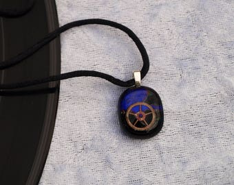 Purple & black steam punk style Dichroic fused glass pendant / necklace - Would make a great wedding / birthday / anniversary present / gift