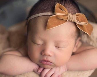 BUTTERSCOTCH VINTAGE VELVET Hand-tied Bow (Headband or Clip)- velvet bow headband; velvet bow; newborn headband; baby headband; toddler bow