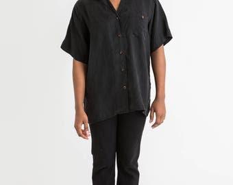 80s Black Button T XL