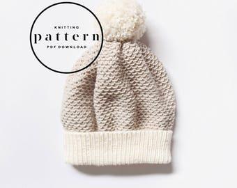 KNITTING PATTERN : Clementine Hat / knitting pattern, knitting pattern hat, knit beanie pattern, textured hat pattern, easy hat pattern