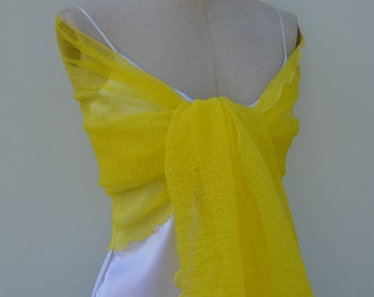 Yellow evening shawl, stole bridal tulle embossed hide shoulder yellow tulle, yellow shawl, shawl yellow cocktail, evening shawl, shawl, chic