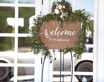Wedding Welcome Sign - Wedding Signs - Welcome to our beginning - Wooden Wedding Signs - Wood Wedding Sign - Welcome Sign, Wood Welcome Sign