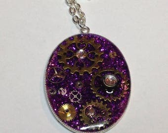 Steampunk purple glitter pendant with gears