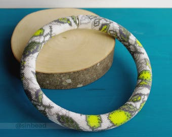 "Bead crochet necklace ""Lemons"""