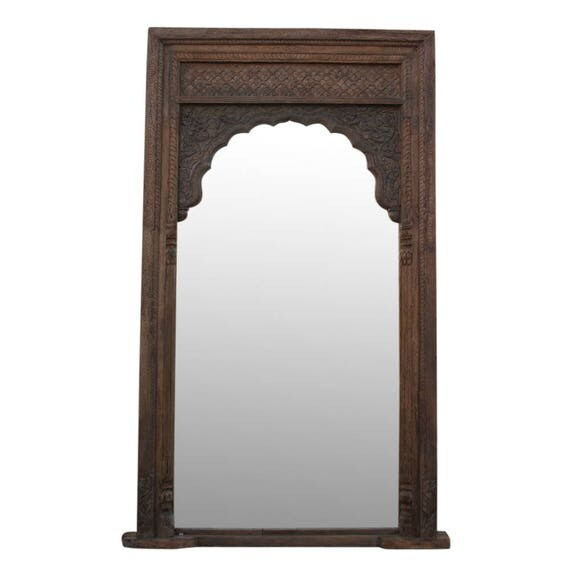 Large brown floor mirror