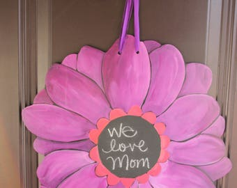 Gerber Daisy/Red Purple Door Hanger with Chalkboard