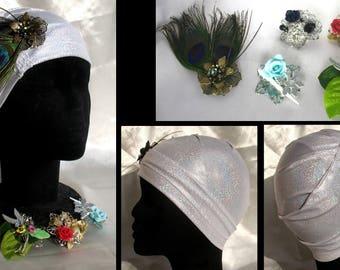 Turban broche bijou Adénaïs en jersey irisé