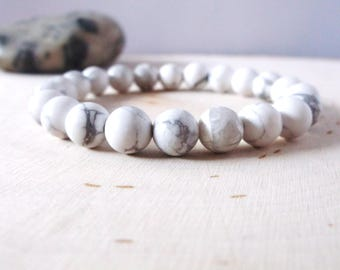 White howlite genuine gemstone bracelet, stone bead stretch bracelet, yoga bracelet, womens mens yoga jewelry, semi precious