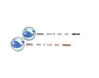 CLEARANCE! Barrette - hair clip - girl - silver - 10 mm - beautiful pattern glass cabochon