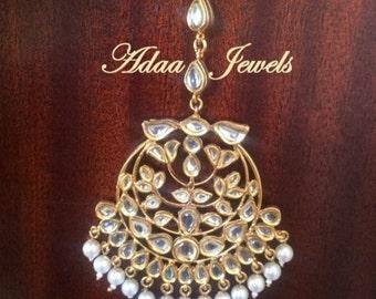 Tika Indian Jewelry Kundan tikka Pakistani designer jewellery gold plated pearls bridal wedding Jewels headpiece mathapatti statement tika