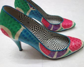 80s Multicolored Optical Pumps // WIld 80s Kitten Heels // Sequined Heels Made in Italy by Linea Lidea // Size 6