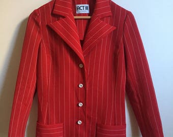1970s Vintage Act III Red Blazer // Red Striped Women's Suit Jacket
