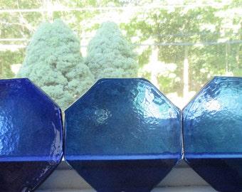 Blue Glass Octagon Shaped Plates Set of Three