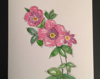 Floral/Handpainted Watercolor Greeting Card