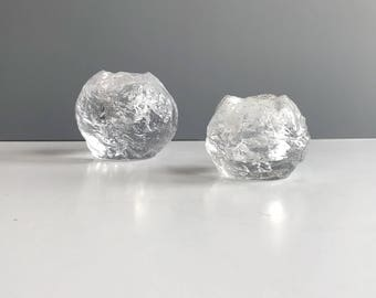 Vintage Modern Kosta Boda Style Snowball Votive Candle Holders Set of 2, Modern Vintage Glass Snoball Votives One Large One Medium