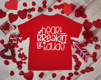 Heart Breaking Lil Dude Boys Valentines Red Rabit Skins 2T 3T 4T Shirt Toddler Kid T Shirt Top Tee T-Shirt Funny Cupid Little