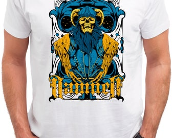 Damned Skull. Men's white cotton t-shirt