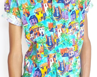 Vintage 1980s Bright House Printed Short Sleeve Button-Up / Size (M)