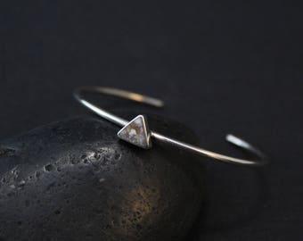 Sterling Silver Minimalist Quartz Cuff Bracelet. Sterling Geometric Cuff, Minimalist Sterling Silver Jewelry, Sterling Minimalist Bracelet
