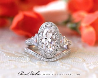 5.26 ct.tw Vintage Art Deco Bridal Set Ring-Oval Cut Diamond Simulant-Engagement Ring W/ Curve Wedding Band Ring-Sterling Silver [61988-2A]
