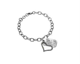 Joy Heart Bracelet/Custom Verse Tag- Women's