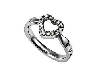 "CZ Open Heart Ring ""Purity"""